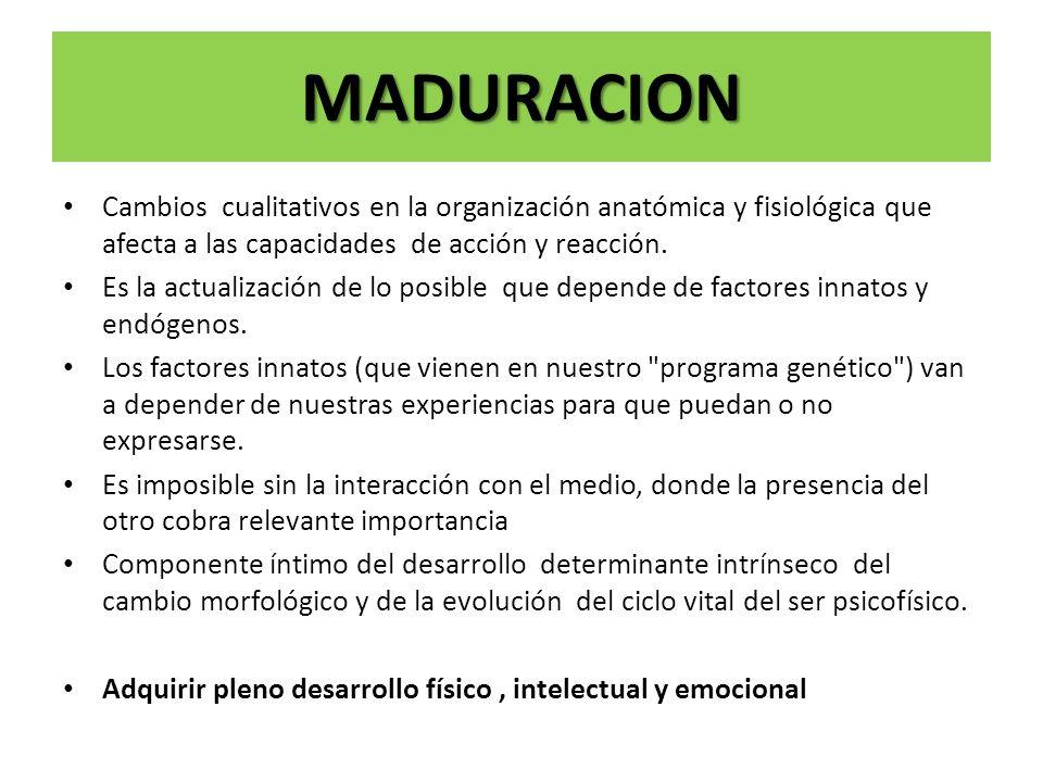 MADURACION Cambios cualitativos en la organización anatómica y fisiológica que afecta a las capacidades de acción y reacción. Es la actualización de l