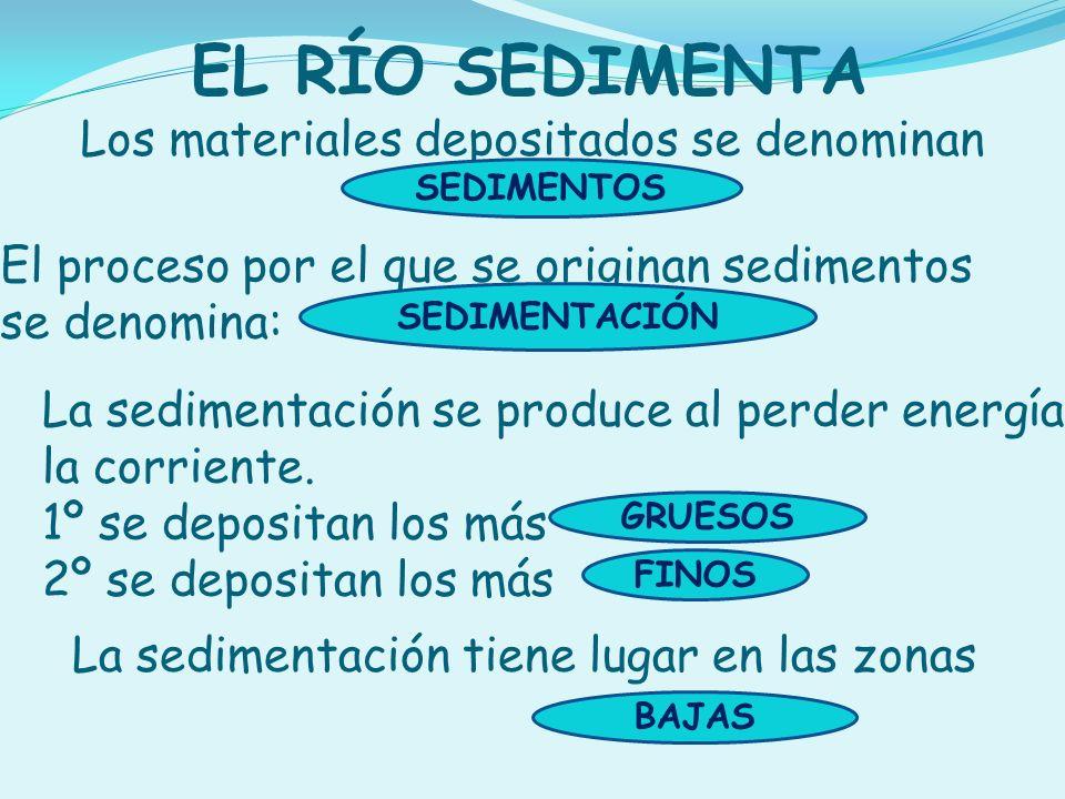 EL RÍO SEDIMENTA Los materiales depositados se denominan SEDIMENTOS La sedimentación se produce al perder energía la corriente. 1º se depositan los má