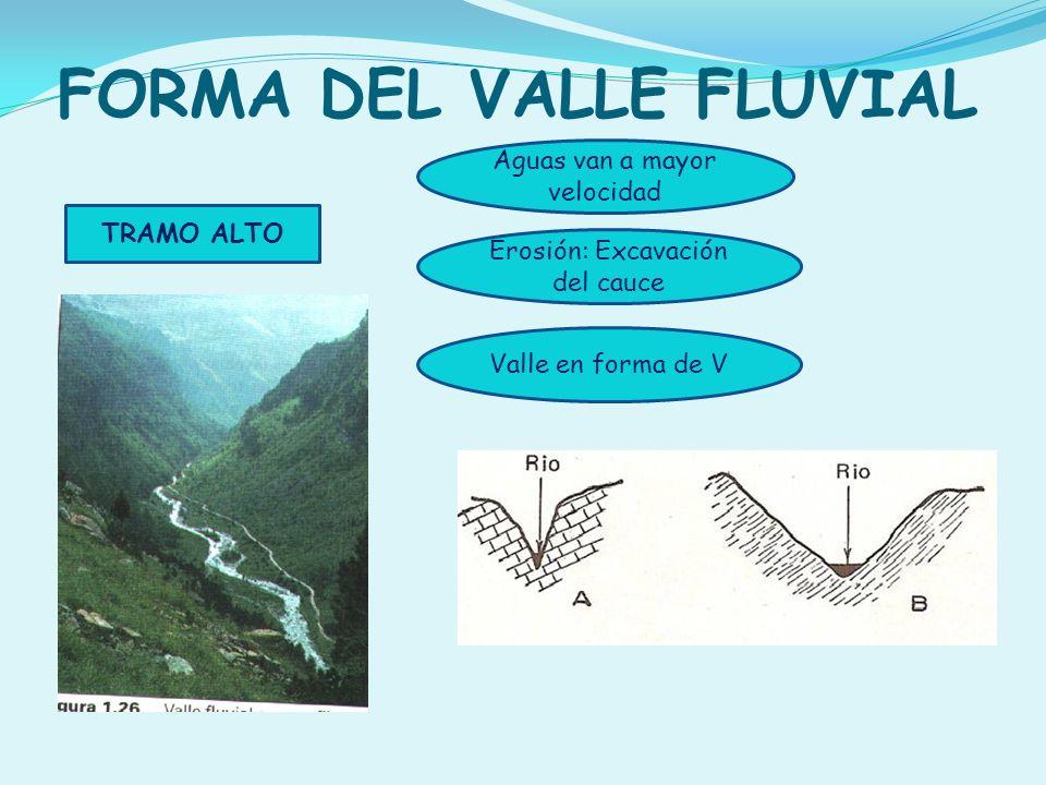 FORMA DEL VALLE FLUVIAL TRAMO ALTO Valle en forma de V Aguas van a mayor velocidad Erosión: Excavación del cauce