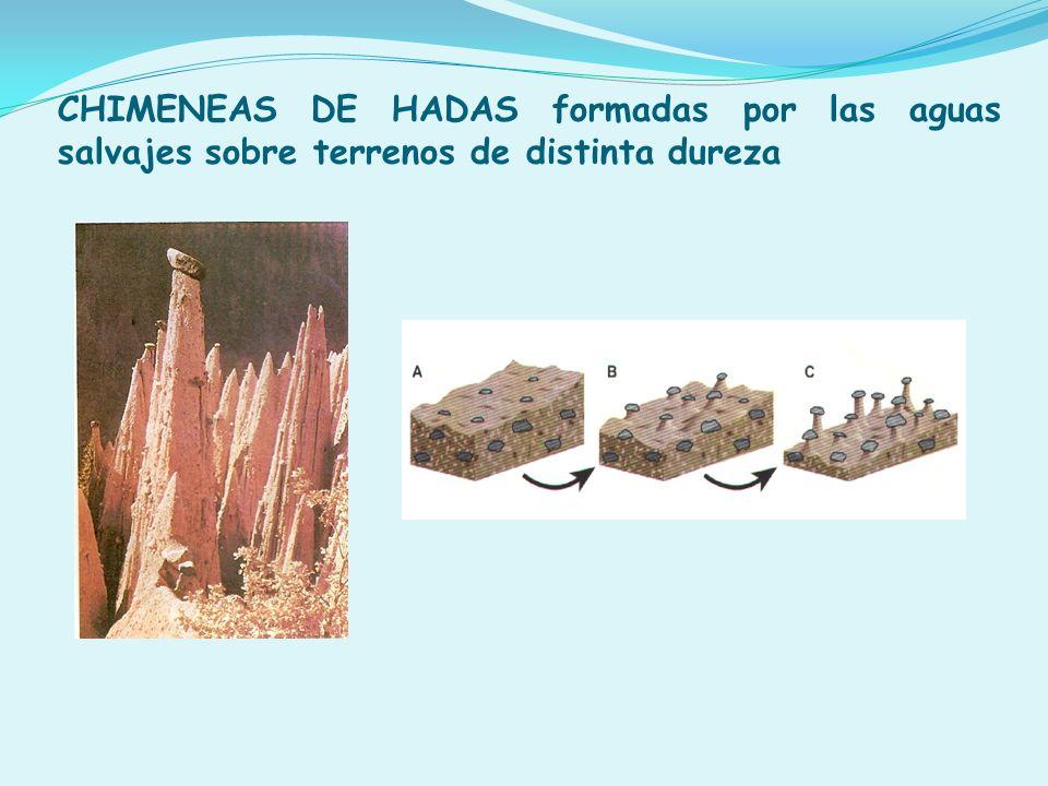 CHIMENEAS DE HADAS formadas por las aguas salvajes sobre terrenos de distinta dureza