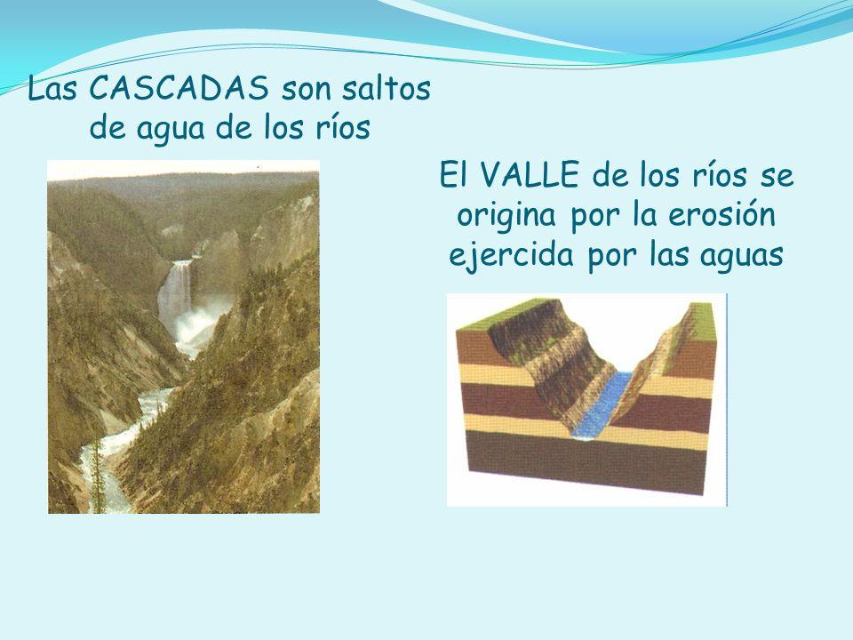 Las CASCADAS son saltos de agua de los ríos El VALLE de los ríos se origina por la erosión ejercida por las aguas