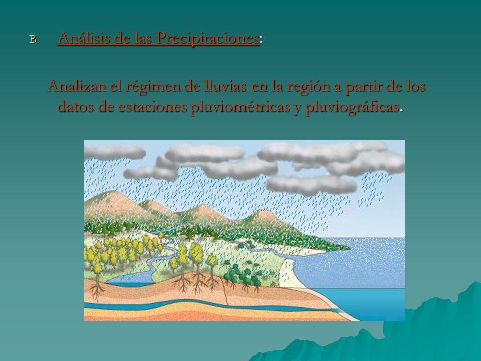 B. Análisis de las Precipitaciones: Analizan el régimen de lluvias en la región a partir de los datos de estaciones pluviométricas y pluviográficas. A