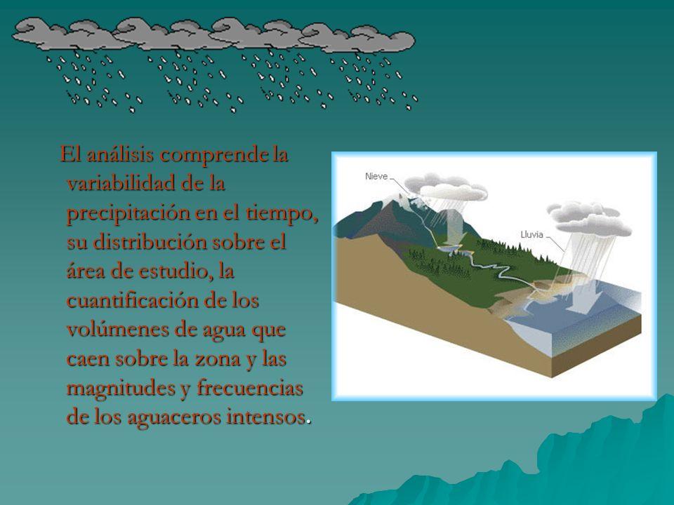 El análisis comprende la variabilidad de la precipitación en el tiempo, su distribución sobre el área de estudio, la cuantificación de los volúmenes d