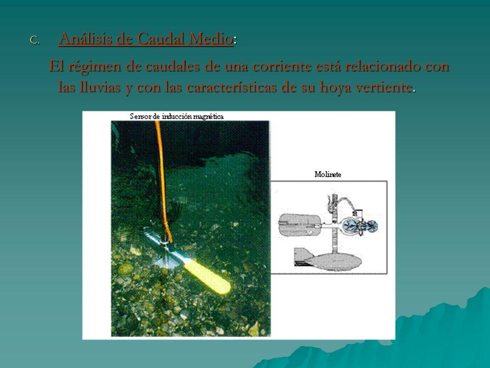 C. Análisis de Caudal Medio: El régimen de caudales de una corriente está relacionado con las lluvias y con las características de su hoya vertiente.