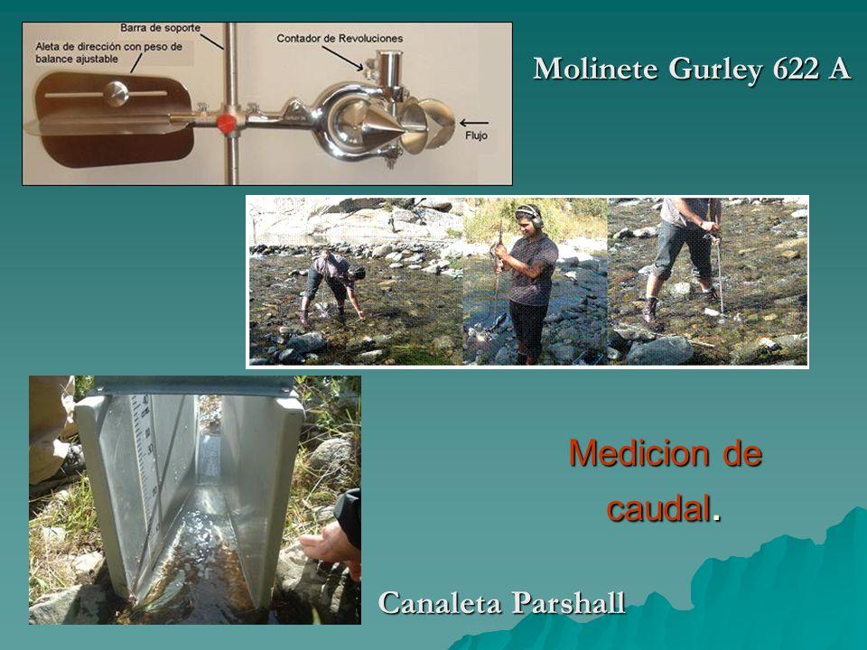 Medicion de caudal. Canaleta Parshall Molinete Gurley 622 A