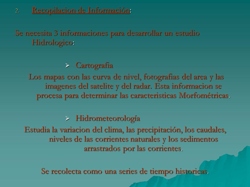 2. Recopilacion de Información: Se necesita 3 informaciones para desarrollar un estudio Hidrologico: Cartografia Cartografia Los mapas con las curva d