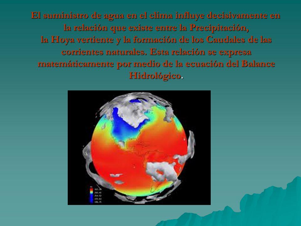 El suministro de agua en el clima influye decisivamente en la relación que existe entre la Precipitación, la Hoya vertiente y la formación de los Caud