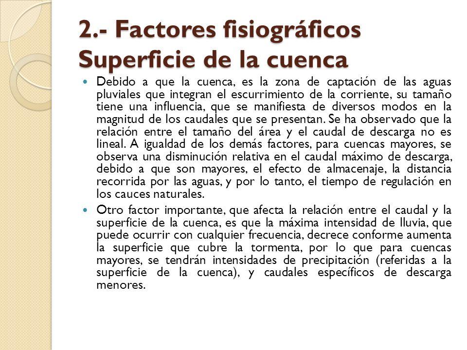 2.- Factores fisiográficos Superficie de la cuenca Debido a que la cuenca, es la zona de captación de las aguas pluviales que integran el escurrimient