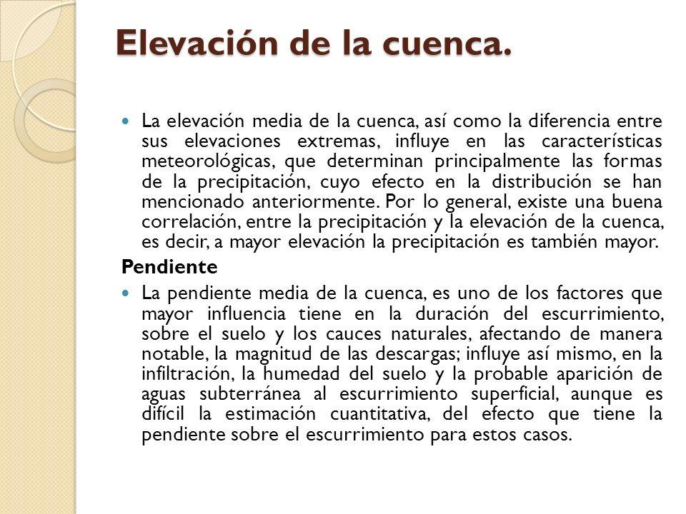 Elevación de la cuenca. La elevación media de la cuenca, así como la diferencia entre sus elevaciones extremas, influye en las características meteoro
