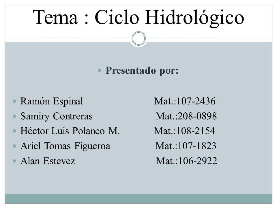 Tema : Ciclo Hidrológico Presentado por: Ramón Espinal Mat.:107-2436 Samiry Contreras Mat.:208-0898 Héctor Luis Polanco M. Mat.:108-2154 Ariel Tomas F