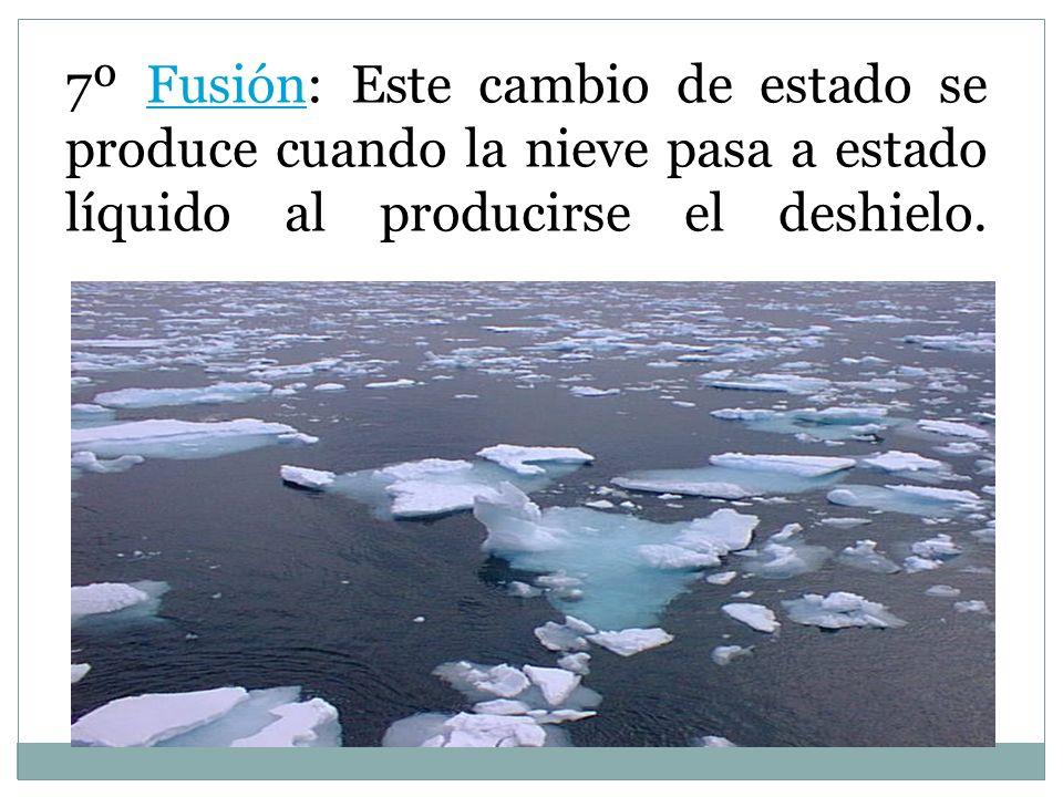 7º Fusión: Este cambio de estado se produce cuando la nieve pasa a estado líquido al producirse el deshielo.Fusión