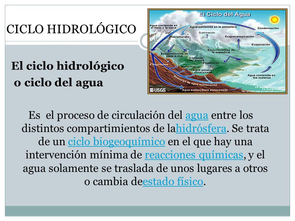 CICLO HIDROLÓGICO El ciclo hidrológico o ciclo del agua Es el proceso de circulación del agua entre los distintos compartimientos de lahidrósfera. Se