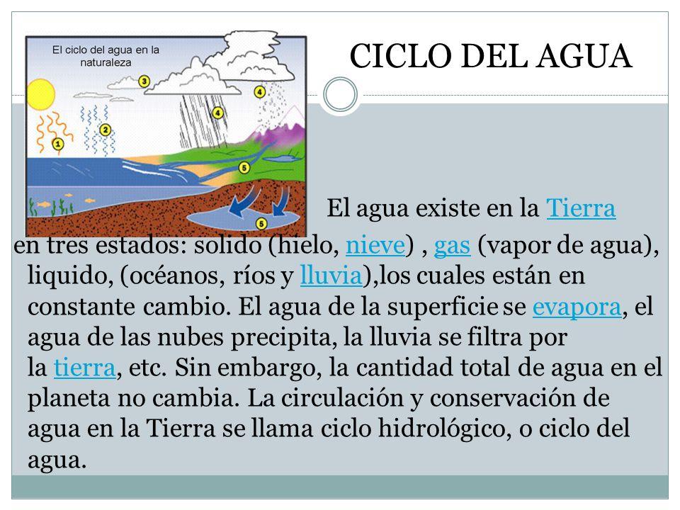 CICLO DEL AGUA El agua existe en la TierraTierra en tres estados: solido (hielo, nieve), gas (vapor de agua), liquido, (océanos, ríos y lluvia),los cu