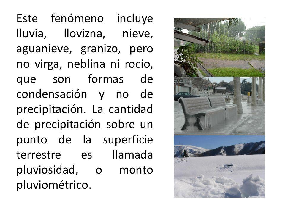 Este fenómeno incluye lluvia, llovizna, nieve, aguanieve, granizo, pero no virga, neblina ni rocío, que son formas de condensación y no de precipitaci