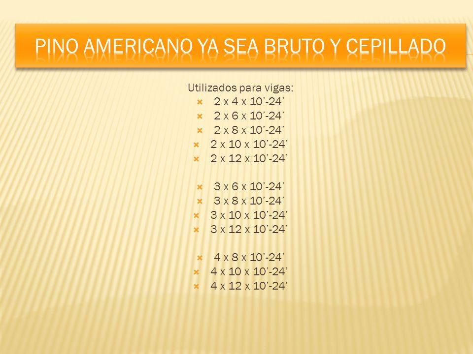 Utilizados para vigas: 2 x 4 x 10-24 2 x 6 x 10-24 2 x 8 x 10-24 2 x 10 x 10-24 2 x 12 x 10-24 3 x 6 x 10-24 3 x 8 x 10-24 3 x 10 x 10-24 3 x 12 x 10-