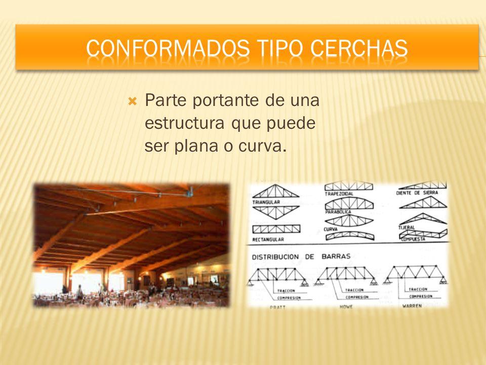Parte portante de una estructura que puede ser plana o curva.