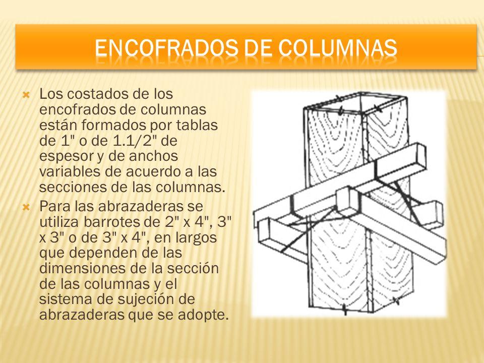 Los costados de los encofrados de columnas están formados por tablas de 1