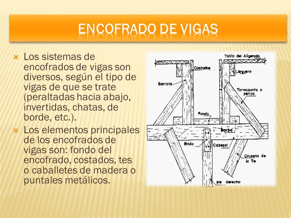 Los sistemas de encofrados de vigas son diversos, según el tipo de vigas de que se trate (peraltadas hacia abajo, invertidas, chatas, de borde, etc.).