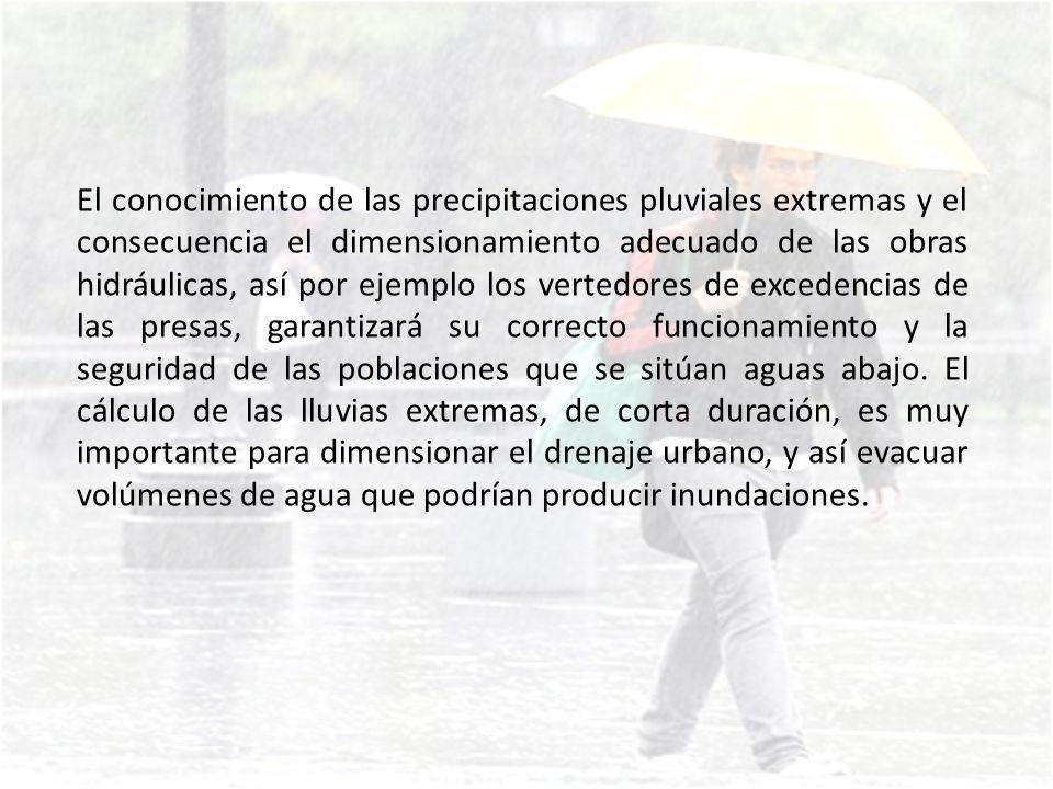 Las características de las precipitaciones pluviales que se deben conocer para estos casos son: La intensidad de la lluvia y duración de la lluvia: estas dos características están asociadas.