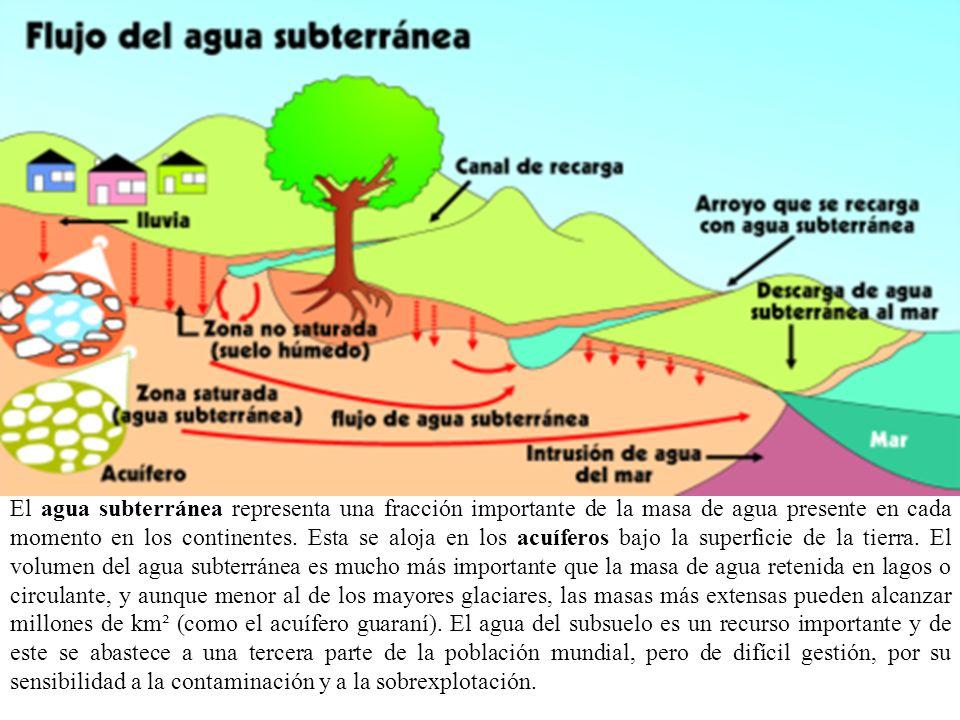 El agua subterránea representa una fracción importante de la masa de agua presente en cada momento en los continentes. Esta se aloja en los acuíferos