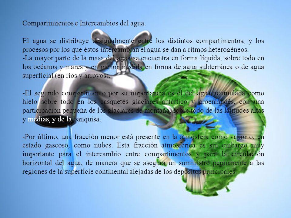 Compartimientos e Intercambios del agua. El agua se distribuye desigualmente entre los distintos compartimentos, y los procesos por los que éstos inte