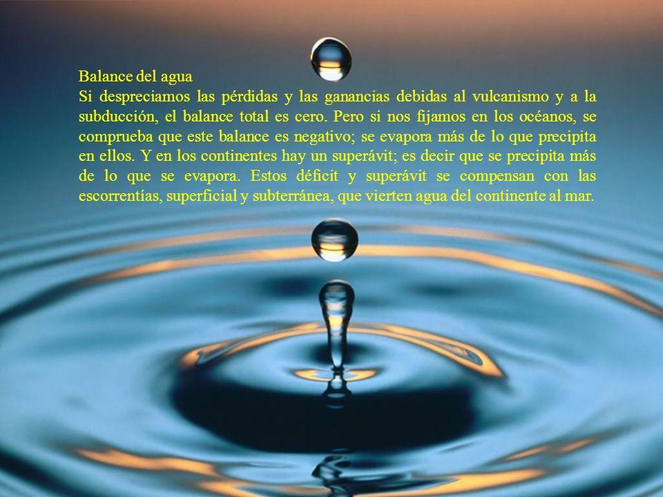 Balance del agua Si despreciamos las pérdidas y las ganancias debidas al vulcanismo y a la subducción, el balance total es cero. Pero si nos fijamos e