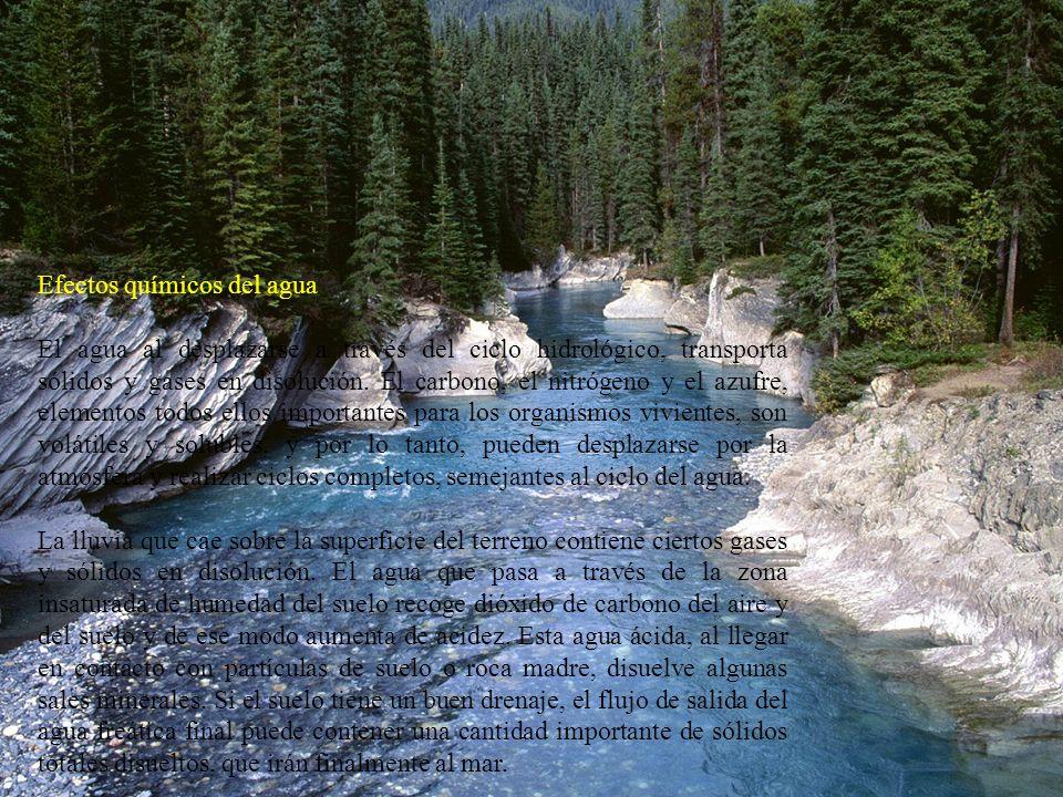 Efectos químicos del agua El agua al desplazarse a través del ciclo hidrológico, transporta sólidos y gases en disolución. El carbono, el nitrógeno y