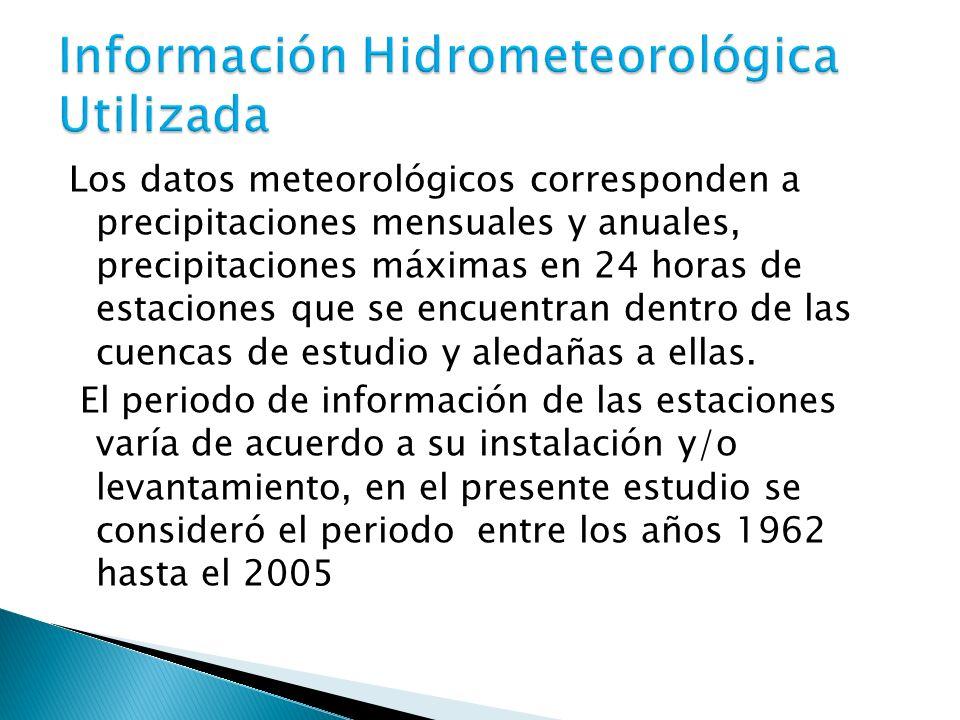 Los datos meteorológicos corresponden a precipitaciones mensuales y anuales, precipitaciones máximas en 24 horas de estaciones que se encuentran dentr