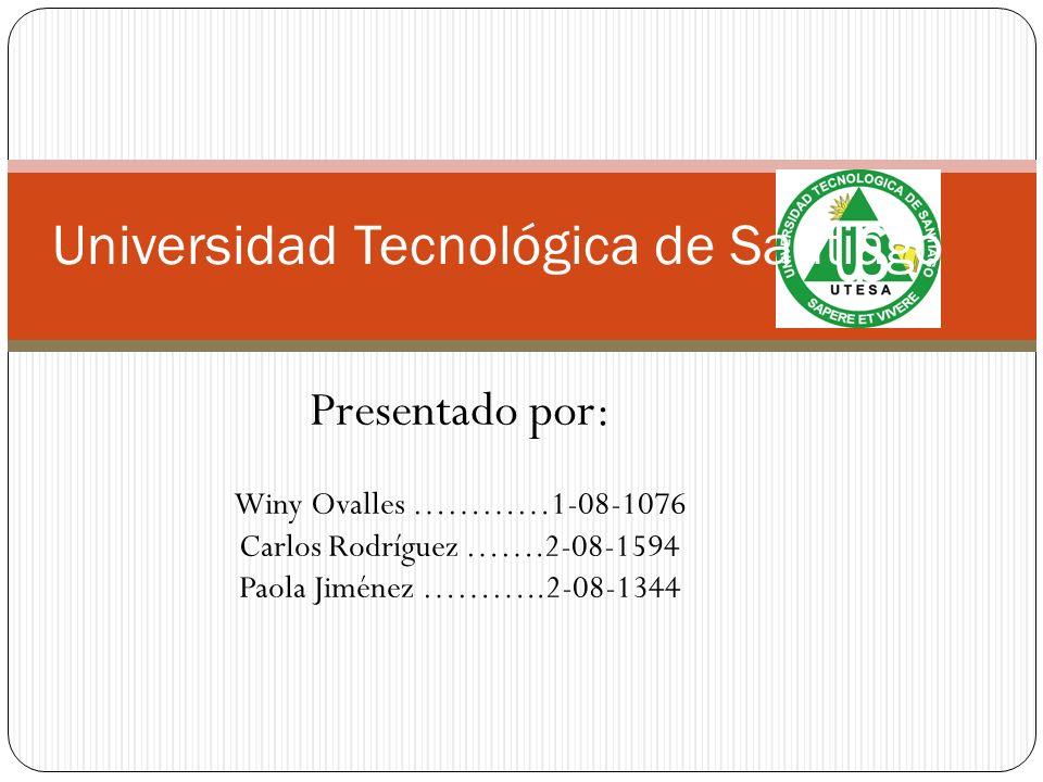 Universidad Tecnológica de Santiago Presentado por: Winy Ovalles …………1-08-1076 Carlos Rodríguez …….2-08-1594 Paola Jiménez ………..2-08-1344