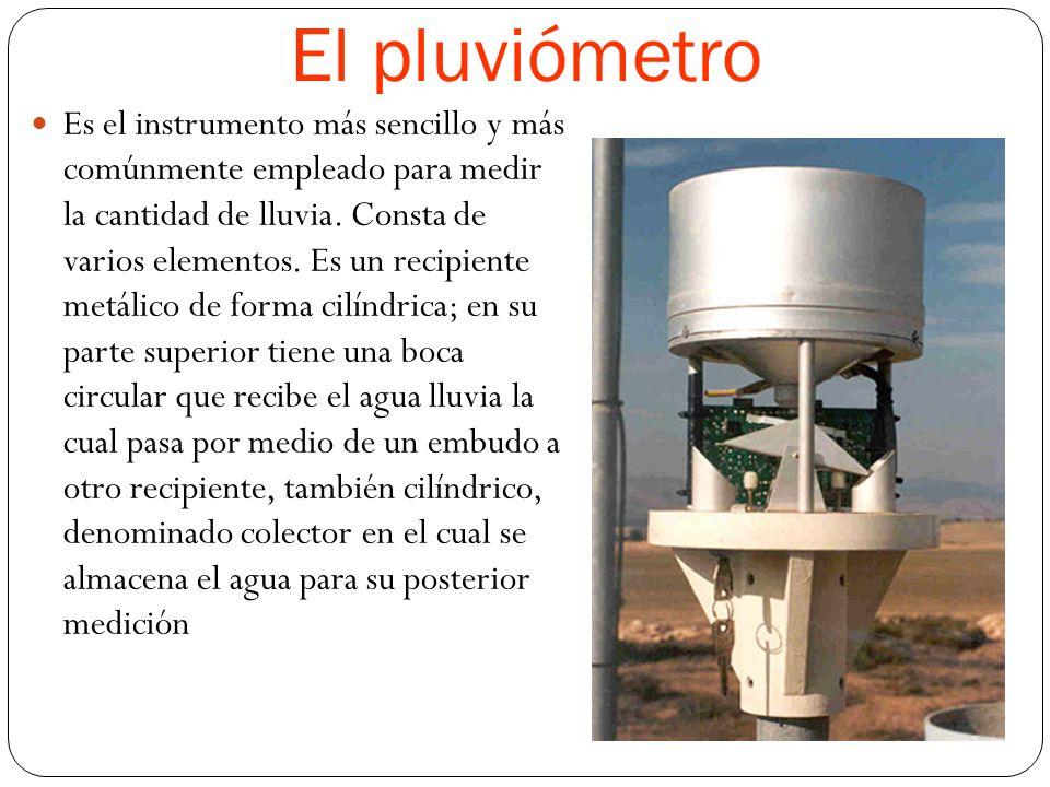 El pluviómetro Es el instrumento más sencillo y más comúnmente empleado para medir la cantidad de lluvia.