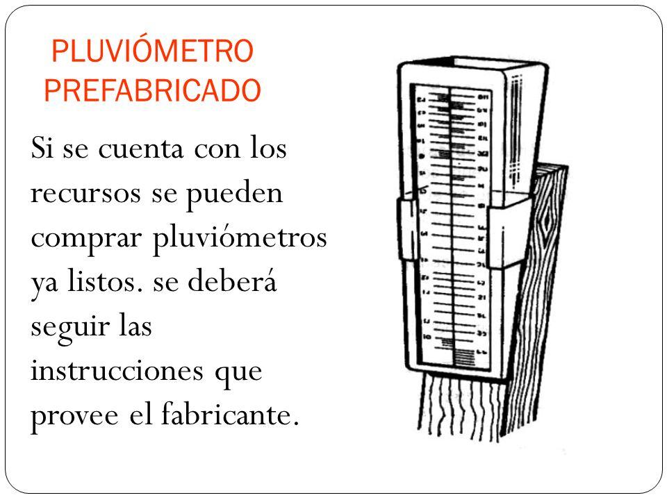 PLUVIÓMETRO PREFABRICADO Si se cuenta con los recursos se pueden comprar pluviómetros ya listos.