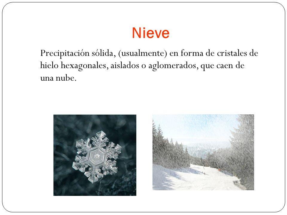 Nieve Precipitación sólida, (usualmente) en forma de cristales de hielo hexagonales, aislados o aglomerados, que caen de una nube.