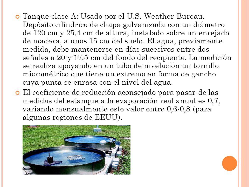 Tanque clase A: Usado por el U.S. Weather Bureau. Depósito cilíndrico de chapa galvanizada con un diámetro de 120 cm y 25,4 cm de altura, instalado so