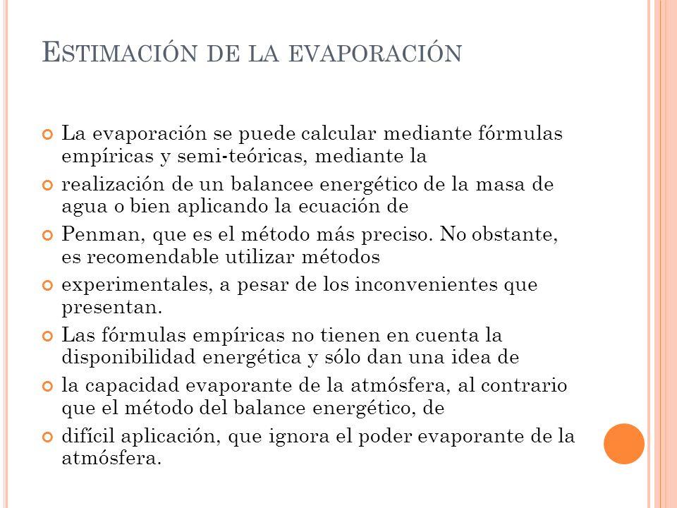 E STIMACIÓN DE LA EVAPORACIÓN La evaporación se puede calcular mediante fórmulas empíricas y semi-teóricas, mediante la realización de un balancee ene