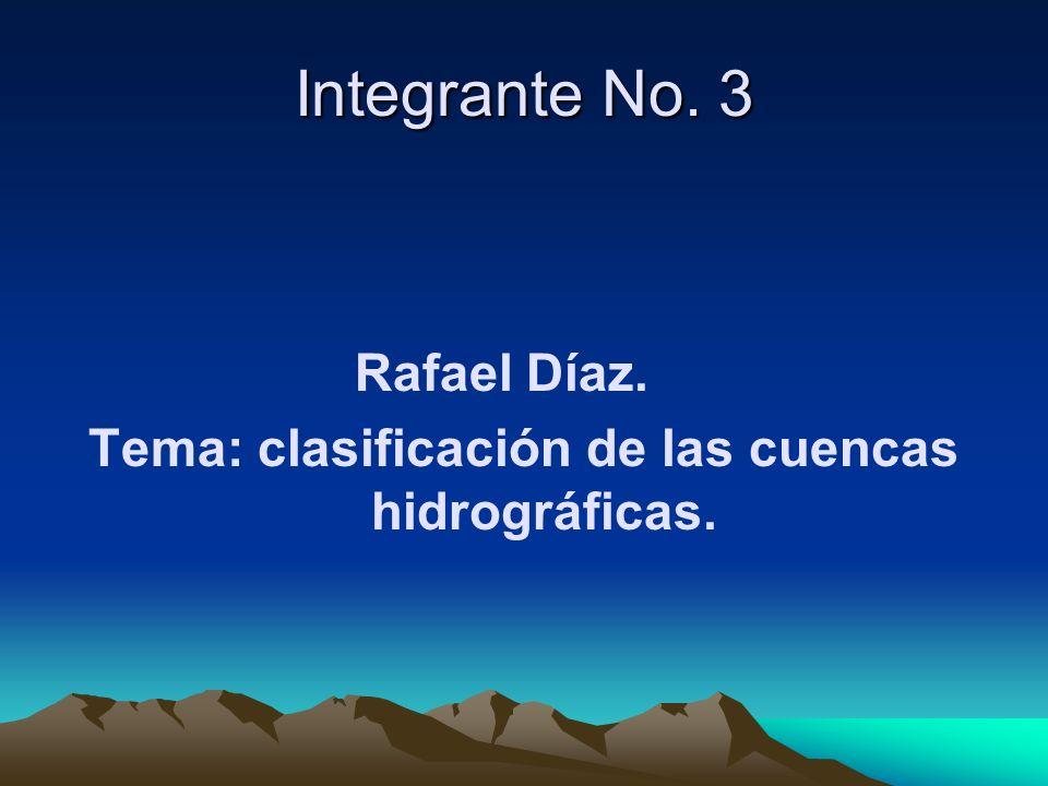 Integrante No. 3 Rafael Díaz. Tema: clasificación de las cuencas hidrográficas.