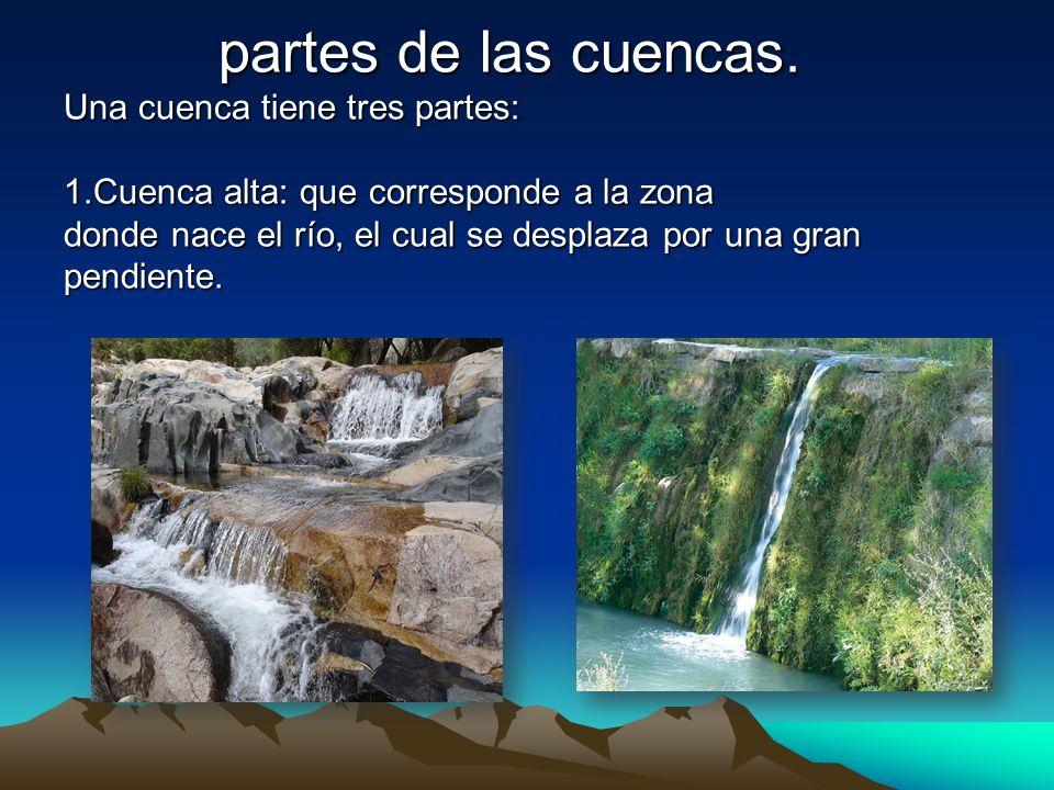 partes de las cuencas. Una cuenca tiene tres partes: 1.Cuenca alta: que corresponde a la zona donde nace el río, el cual se desplaza por una gran pend