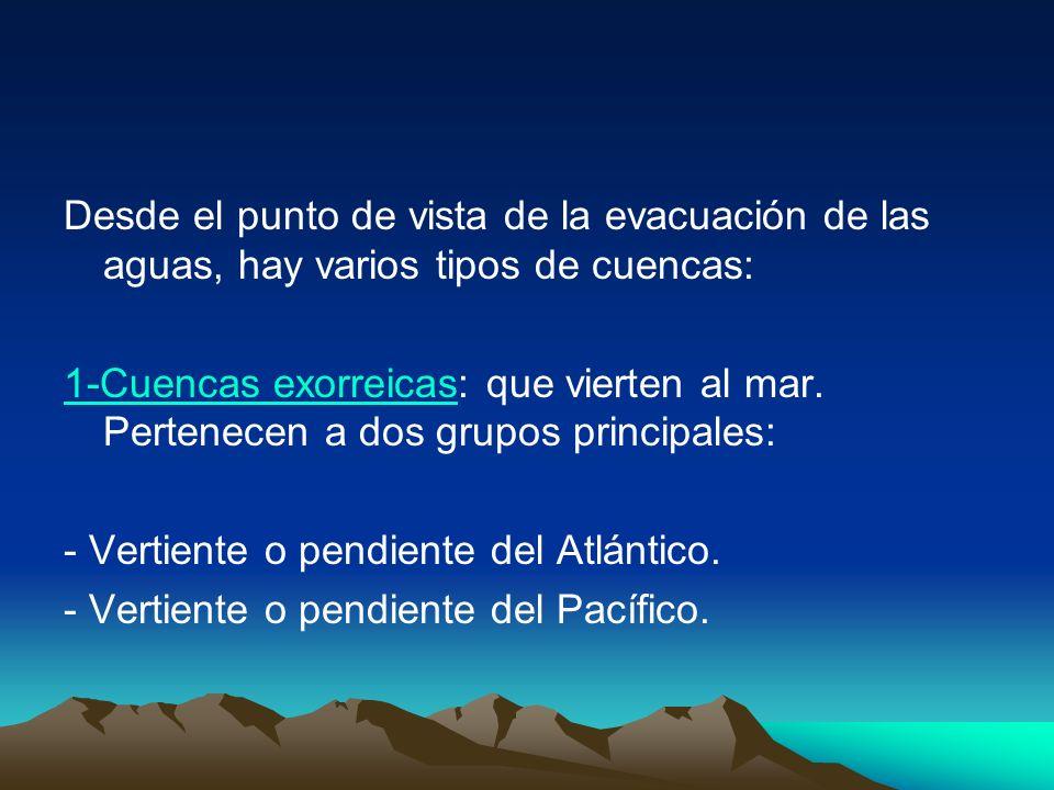 Desde el punto de vista de la evacuación de las aguas, hay varios tipos de cuencas: 1-Cuencas exorreicas1-Cuencas exorreicas: que vierten al mar. Pert