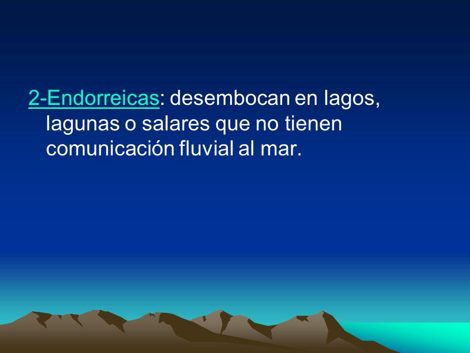 2-Endorreicas2-Endorreicas: desembocan en lagos, lagunas o salares que no tienen comunicación fluvial al mar.