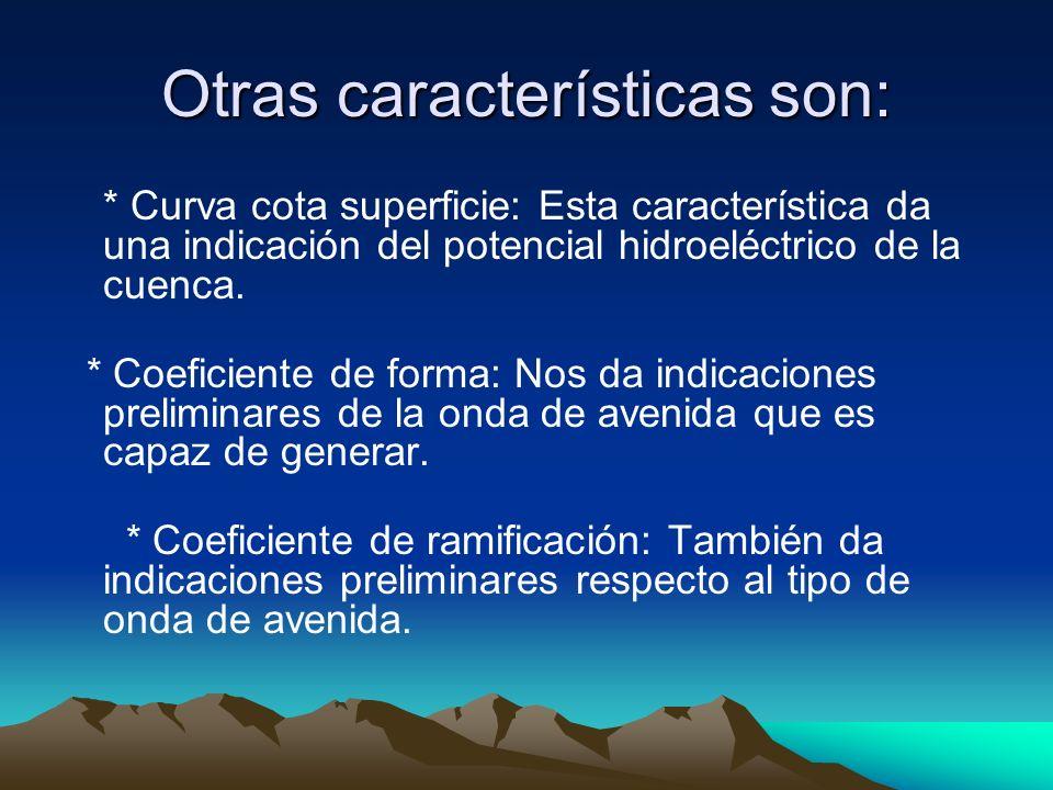 Otras características son: * Curva cota superficie: Esta característica da una indicación del potencial hidroeléctrico de la cuenca. * Coeficiente de