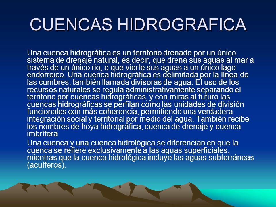 CUENCAS HIDROGRAFICA Una cuenca hidrográfica es un territorio drenado por un único sistema de drenaje natural, es decir, que drena sus aguas al mar a