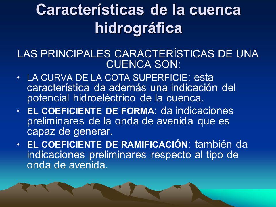 Características de la cuenca hidrográfica LAS PRINCIPALES CARACTERÍSTICAS DE UNA CUENCA SON: LA CURVA DE LA COTA SUPERFICIE : esta característica da a