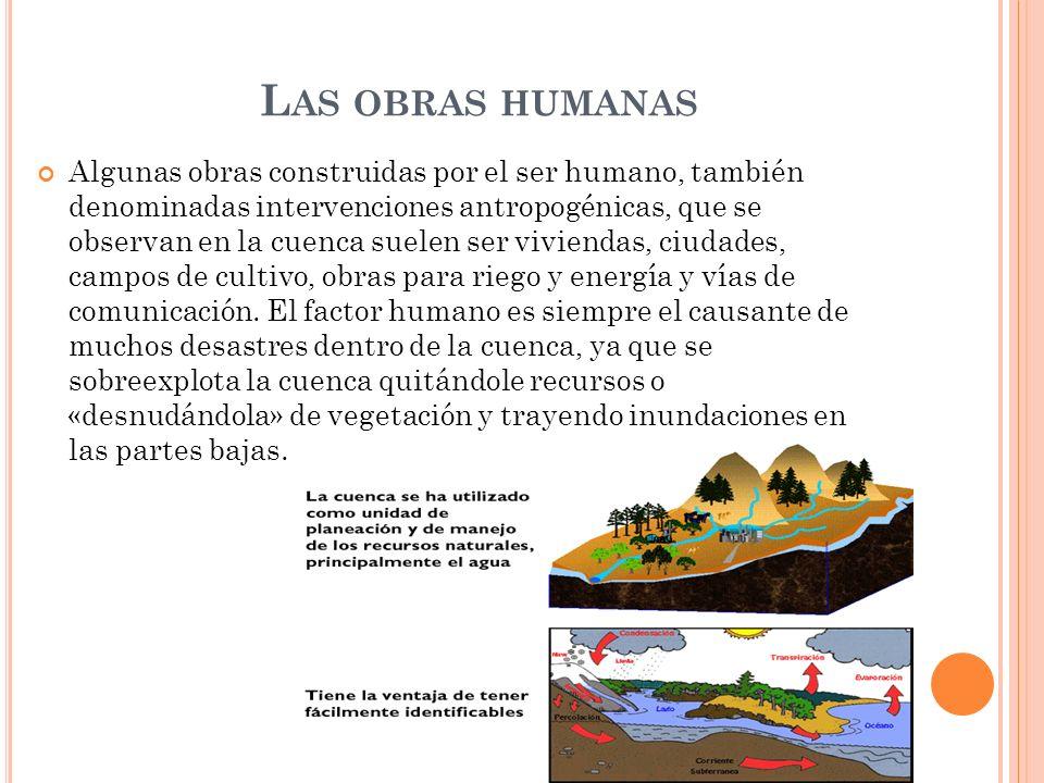 L AS OBRAS HUMANAS Algunas obras construidas por el ser humano, también denominadas intervenciones antropogénicas, que se observan en la cuenca suelen
