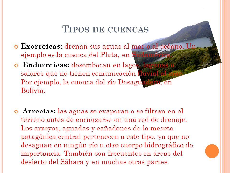 T IPOS DE CUENCAS Exorreicas: drenan sus aguas al mar o al océano. Un ejemplo es la cuenca del Plata, en Sudamérica. Endorreicas: desembocan en lagos,