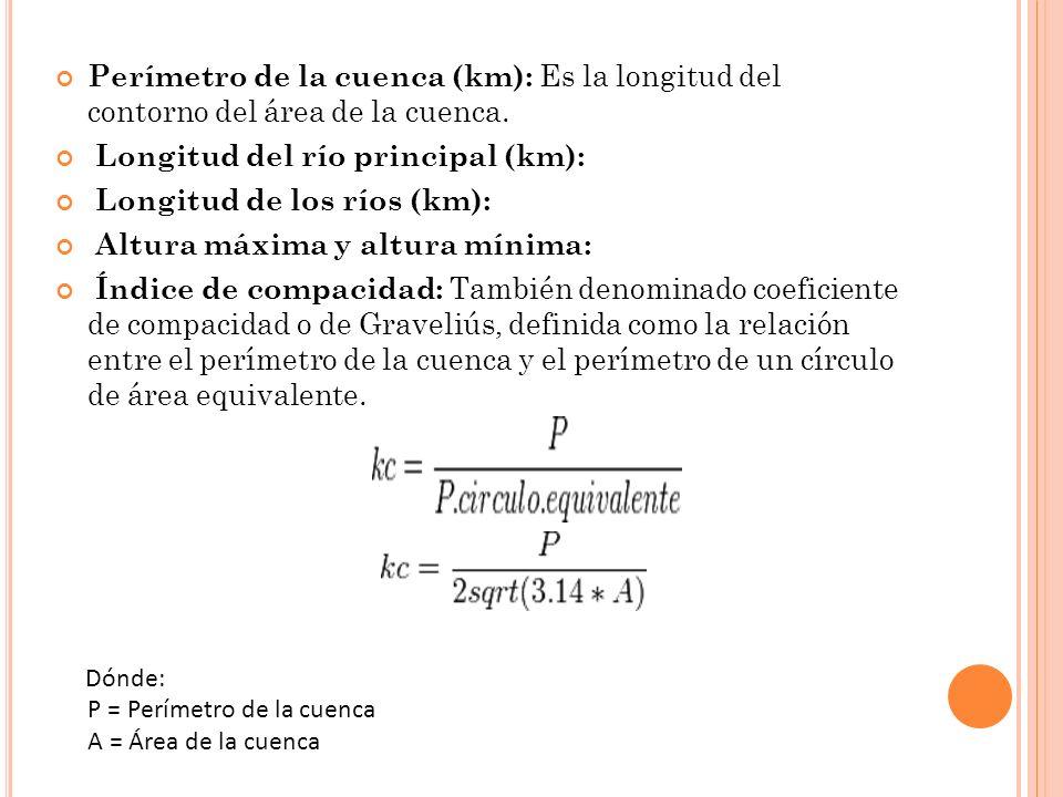 Perímetro de la cuenca (km): Es la longitud del contorno del área de la cuenca. Longitud del río principal (km): Longitud de los ríos (km): Altura máx