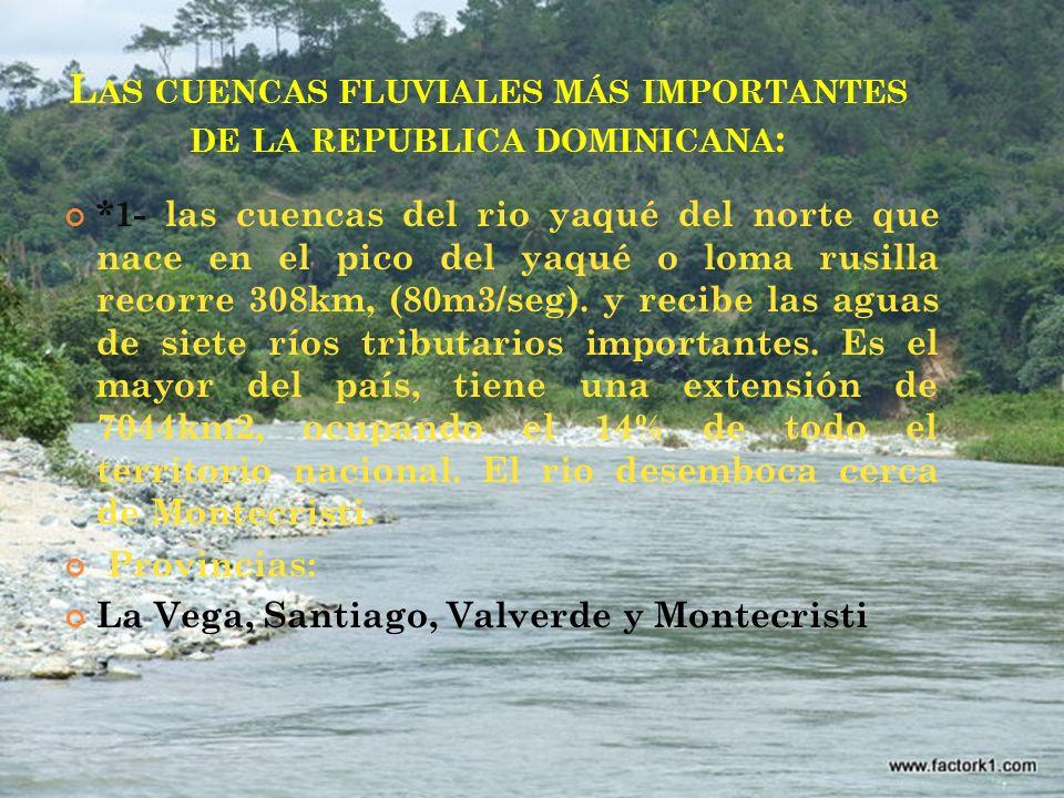 L AS CUENCAS FLUVIALES MÁS IMPORTANTES DE LA REPUBLICA DOMINICANA : *1- las cuencas del rio yaqué del norte que nace en el pico del yaqué o loma rusil
