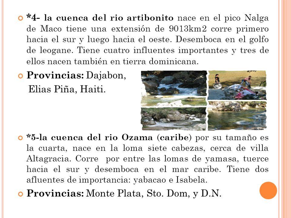 *4- la cuenca del rio artibonito nace en el pico Nalga de Maco tiene una extensión de 9013km2 corre primero hacia el sur y luego hacia el oeste. Desem