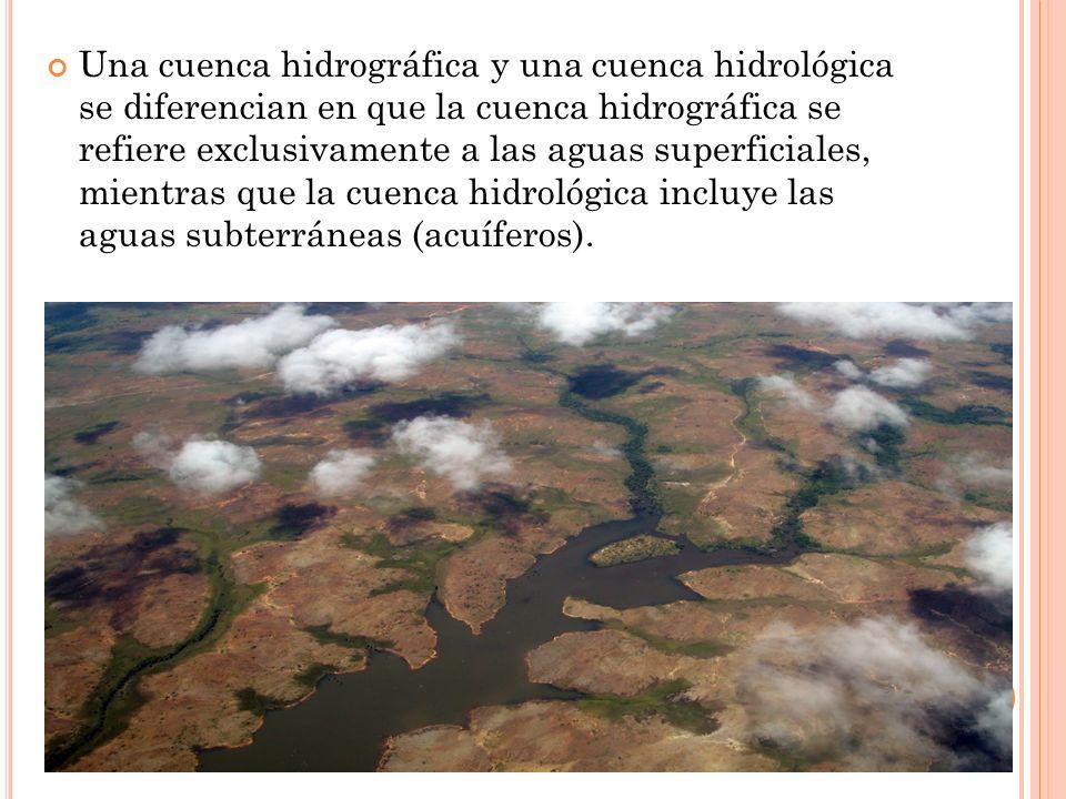 Una cuenca hidrográfica y una cuenca hidrológica se diferencian en que la cuenca hidrográfica se refiere exclusivamente a las aguas superficiales, mie