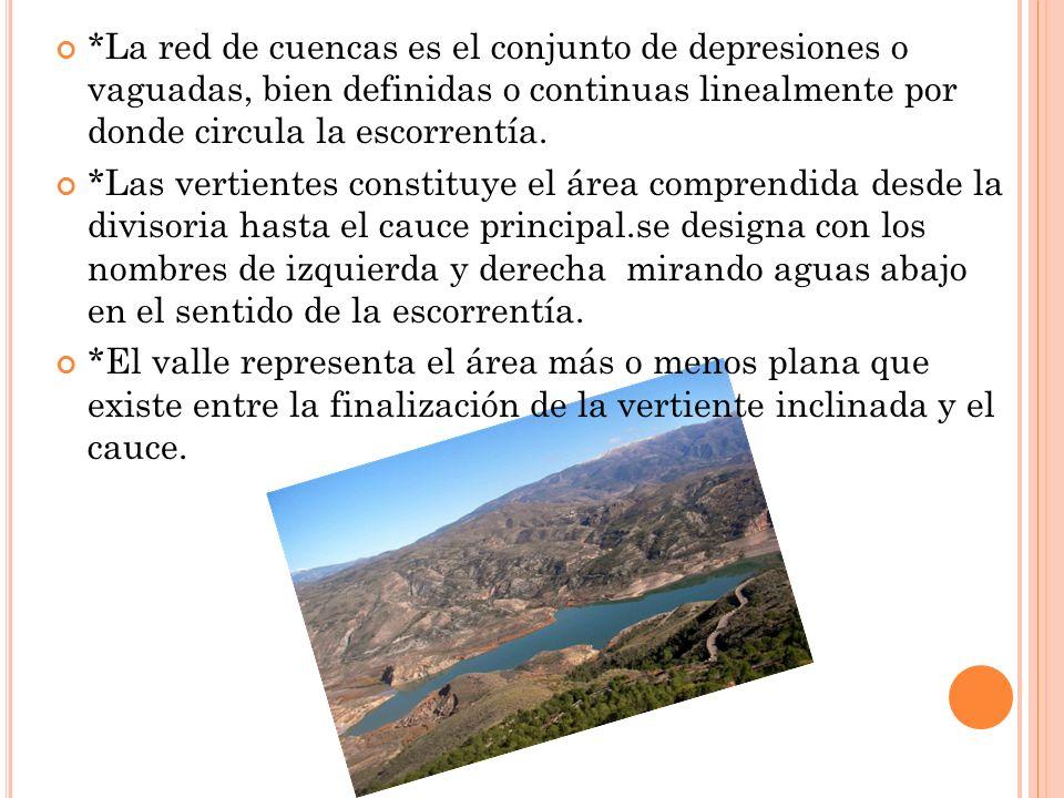 *La red de cuencas es el conjunto de depresiones o vaguadas, bien definidas o continuas linealmente por donde circula la escorrentía. *Las vertientes