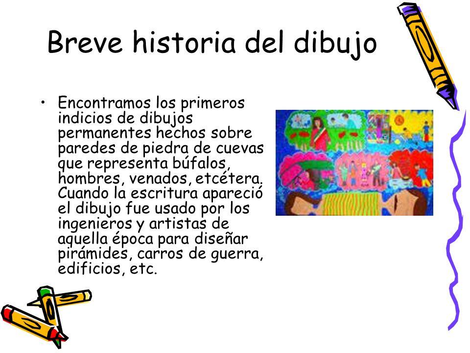 Breve historia del dibujo Encontramos los primeros indicios de dibujos permanentes hechos sobre paredes de piedra de cuevas que representa búfalos, ho