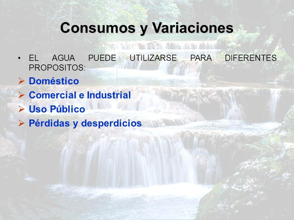 Consumos y Variaciones EL AGUA PUEDE UTILIZARSE PARA DIFERENTES PROPOSITOS: Doméstico Comercial e Industrial Uso Público Pérdidas y desperdicios